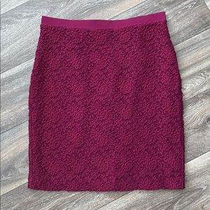 Anna Taylor LOFT Maroon Floral Lace Pencil Skirt